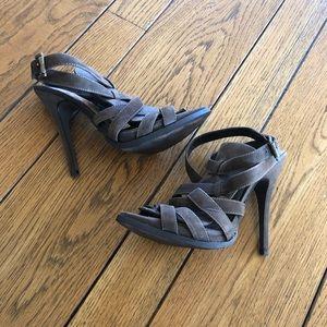 Zara olive green strappy suede heel sandals 9